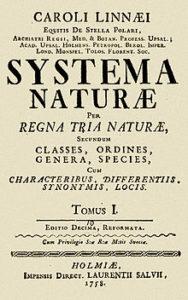 Frontespizio del Systema Naturae di Linneo, 1758.